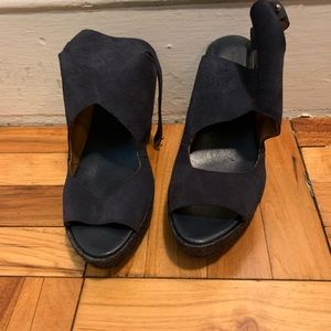 Zara navy wedges size 8